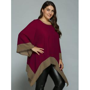 Plus Size Flare Sleeve Asymmetrical Blouse - WINE RED XL