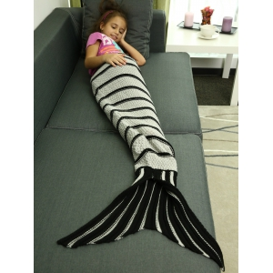 Knitting Stripes and Checked Pattern Mermaid Blanket -