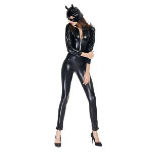 Cuir verni avec Kitten Neutre Costume Dress Locomotive Halloween Party - Noir 2XL