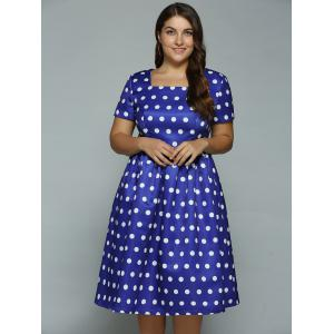 Plus Size Polka Dot Swing Dress -