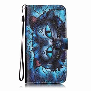 Mysterious Cat PU Wallet Design Phone Case For iPhone 7 Plus -