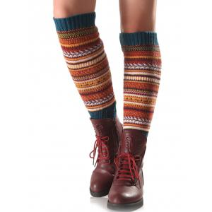 Warm Ethnic Multicolor Stripe Knit Leg Warmers -