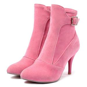 Buckle Strap Pointed Toe Ankle Boots -