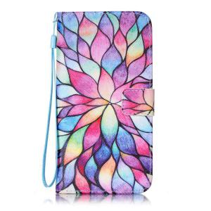Colorful Lotus PU Leather Wallet Design Case For iPhone 7 Plus -