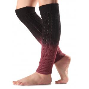 Warm Ombre Knit Leg Warmers - BLACK