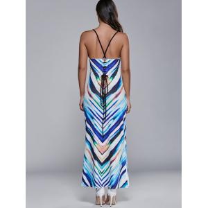 Lace Up Striped Maxi Dress -