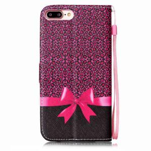 PU Leather Wallet Design Leopard Bowknot Cover For iPhone 7 Plus -