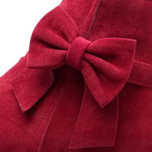 Suede Bowknot Hidden Wedge Short Boots - DEEP RED 39
