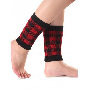 Warm Checkered Knit Boot Cuffs - RED