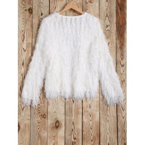 Feather Tassels Hand-Knitted Cardigan -