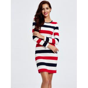 Stripe Long Sleeve T-Shirt Slimming Dress - WHITE M
