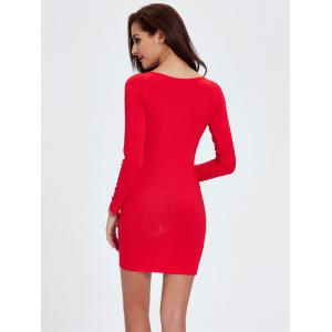 Ribbed Long Sleeve Tight Dress - RED M