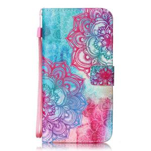 Flower PU Leather Wallet with Card Slot Case For iPhone 7 Plus -