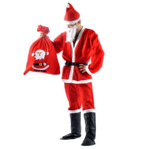 High Quality Christmas Santa Claus Set Costume - RED