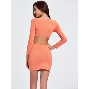 Twist Backless Long Sleeve Plunge Club Skinny Dress - SWEET ORANGE 2XL