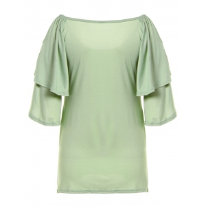 Cold Shoulder Layered Sleeve Ruched Blouse -