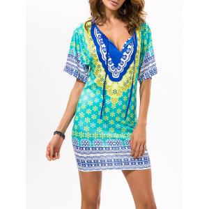 Printed Beach Bodycon Dress - GREEN ONE SIZE