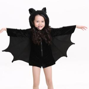 Kids Halloween Party Supply Cosplay Bat Zipper Jumpsuit Connect Wings Costume For Girls - BLACK S