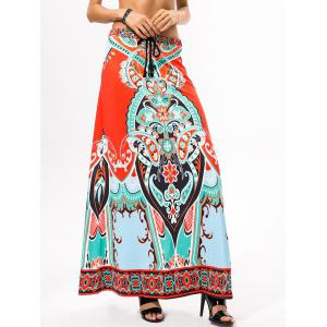 Drawstring Ethnic Style African Print Maxi Skirt -