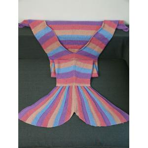 Warmth Multicolor Stripes Design Knitted Mermaid Tail Blanket - COLORMIX