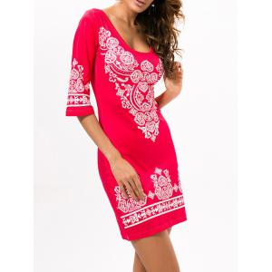 Stretchy Ethnic Style Printed Dress - RED XL