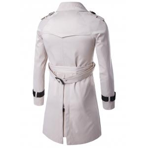 Epaulet Design Double Breasted Long Trench Coat - OFF-WHITE 3XL