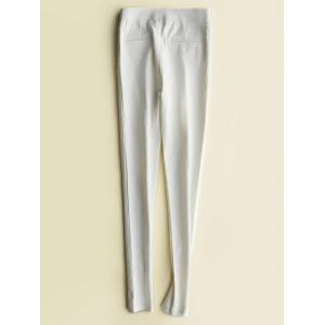 Fleece High-Waisted Slimming Ankle Pencil Pants - WHITE M