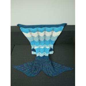 Knitted Wave Striped Openwork Design Mermaid Blanket - COLORMIX