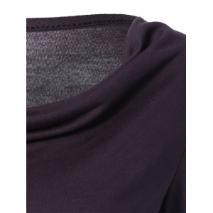 Scoop Neck Asymmetric Slit T-Shirt - PURPLE XL