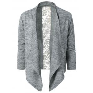 Collarless Lace Spliced Asymmetric Cardigan -