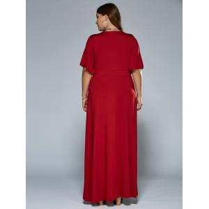 Ruched V Neck Maxi Prom Dress - WINE RED 6XL
