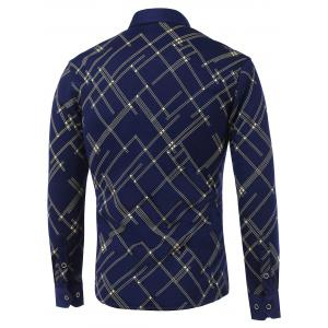 Linellae Print Pocket Turn-Down Collar Fleece Shirt -
