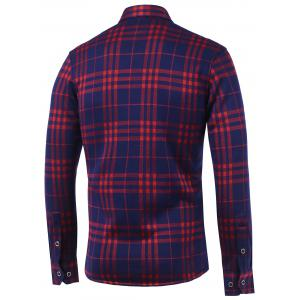 Tartan Print Turn-Down Collar Fleece Shirt -