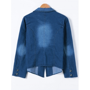 Buttoned Slimming Denim Blazer - DENIM BLUE L