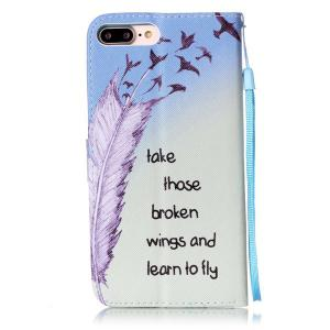 Feather Quote Wallet Design Phone Case For iPhone 7 Plus -