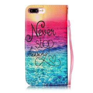 PU Wallet Design Stop Dreaming Quote Phone Case For iPhone 7 Plus -