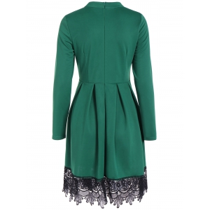 Lace Splicing Long Sleeve Pleated Dress -