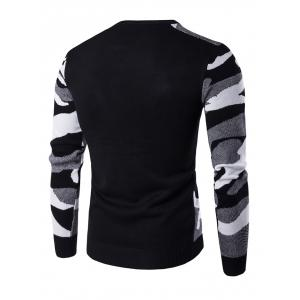 Crew Neck Camouflage Pattern Long Sleeve Sweater - BLACK 2XL