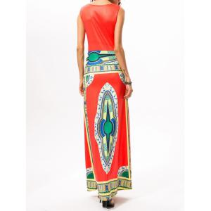 Printed Ethnic Style Maxi Dress - WATERMELON RED XL