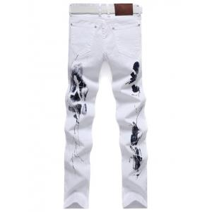 Pocket Rivet Printed Zipper Fly Stretch Jeans -
