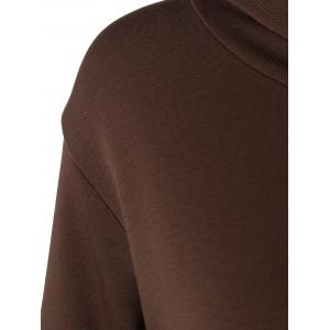 Hooded Long Sleeve Dress with Pocket - DEEP BROWN ONE SIZE