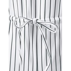 Drawstring Striped Cut Out Romper -