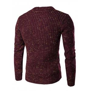 Crew Neck Colorful Kink Design Long Sleeve Sweater - WINE RED 2XL