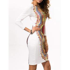 Printed Ethnic Style Stretchy Bodycon Dress -