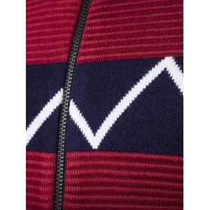 Crew Neck Waviness Knitting Splicing Zip-Up Cardigan - WINE RED 2XL