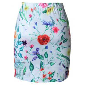 High Waist Floral Print Bodycon Skirt -