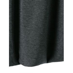 V-Neck Asymmetrical Plain Dress - DEEP GRAY XL