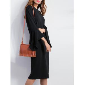 Bell Sleeve Fitted Slit Dress -