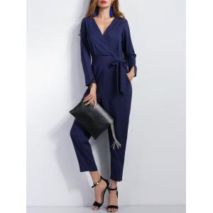 Long Sleeve Wrap Ninth Jumpsuit -