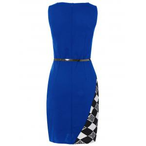 Argyle Skew Neck Sleeveless Bodycon Pencil Dress - BLUE M